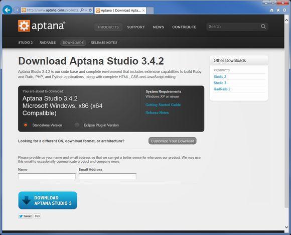 Aptana Studio ダウンロードサイト