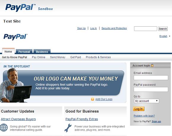 PayPalテストサイトSandbox