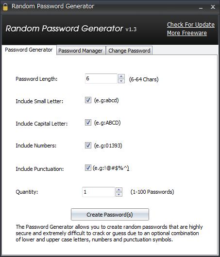Random Password Generator画面