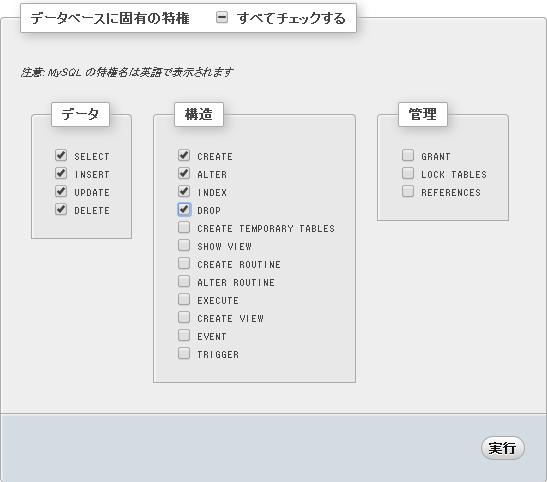 特権選択画面