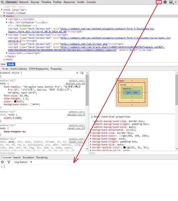 Consoleパネル表示画面