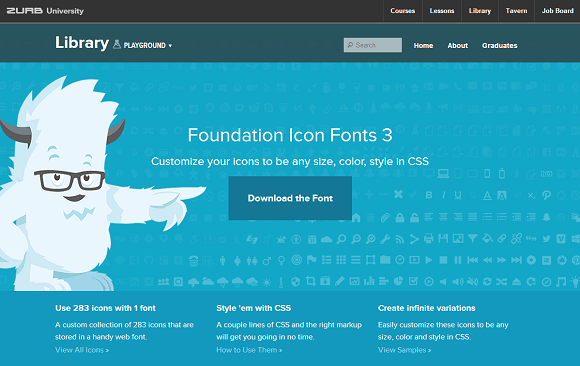 ZURB University Foundation Icon Fonts 3 サイト画面