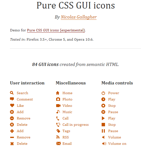 Pure CSS GUI icons のサイト